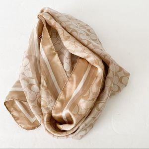 Coach silk signature print scarf Tan cream